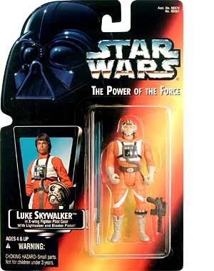 Star Wars: Power of the Force Red Card Luke Skywalker in X-Wing Fighter Pilot Gear with Long Lightsaber Action Figure (Red Card Luke Skywalker)