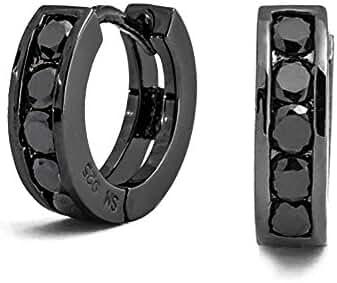 Bling Jewelry 925 Black Cubic Zirconia Huggie Earrings