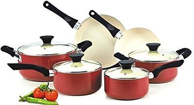 Cookware Food Network Premium Set Nonstick Ceramic Coating 10 Piece, Red, Glass Lid