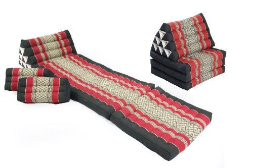 Cheap Double Leisure Set: Cushions and Pillows in Thai Traditional Design Burgundy&Black, 4 Pieces