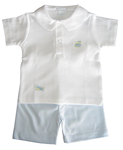 Kissy Kissy Premier Baby-Boys Infant Scattered Transit Bermuda Short Set with Collar-White with Blue-0-3 Months