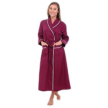 Del Rossa Womens Cotton Robe, Lightweight Woven Bathrobe, Small Deep Purple (A0515DPUSM)