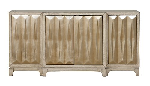 Treasure Trove 17325 Four Door Credenza, White and Gold - Two tone Finish; 4 doors with European hinges 3 fixed shelves; dimensional door panels Material: 100% MDF - sideboards-buffets, kitchen-dining-room-furniture, kitchen-dining-room - 412acz92plL -