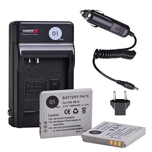 NB-4L CB-2LV DOT-01 2 Pcs Replacement NB4L Batteries and Charger for Canon SD40, SD30, SD200, SD300, SD400, SD430, SD450, SD600, SD630, SD750, SD780, SD940, SD960, SD1000, SD1100, SD1400, TX1 and more