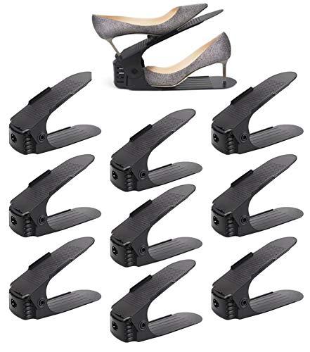 Shoe Slots Organizer - Plastic Closet Space Saver, Set of 8 Black