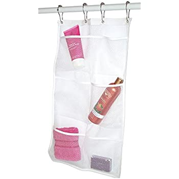 Mesh Hanging Organizer And Bath Caddy With 6 Pocket, Hang On Shower Curtain  Rod