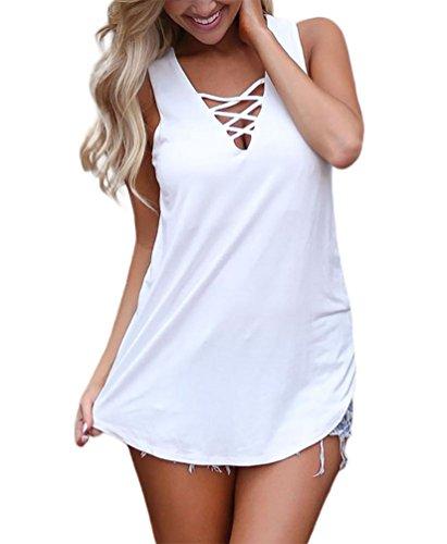 Feiersi Women's Summer Sleeveless Criss Cross Casual Tank Tops Basic Lace up Blouse White M