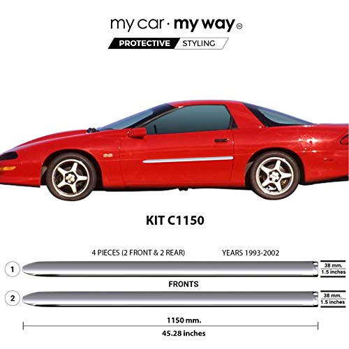 MY CAR MY WAY (Fits) Chevrolet Camaro 1993-2002 Chrome Body Side Molding Cover Trim Door Protector