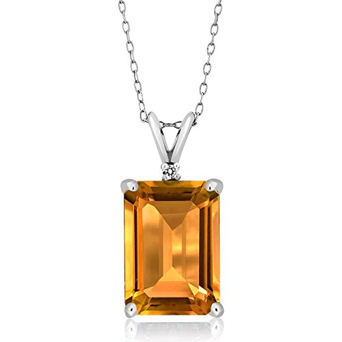 8.22 Ct Emerald Cut Yellow Citrine Gemstone Birthstone and White Diamond 925 Sterling Silver Pendant (14X10MM Citrine with 18 Inch Silver - Cut Citrine Pendant Emerald