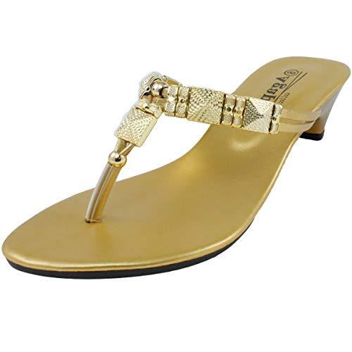 Agape HERO-56 Metallic Charms Thong Sandal Gold 7