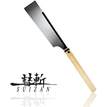 SUIZAN Japanese Hand Saw 9-1/2 inch Dozuki (Dovetail) Pull Saw for Woodworking