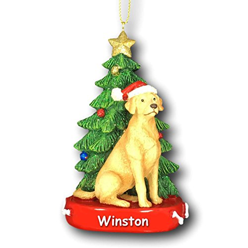 (Kurt Adler Personalized Yellow Lab Labrador Retriever Dog with Santa Hat and Glittered Christmas Tree Hanging Christmas Ornament with Custom Name - 4.25)