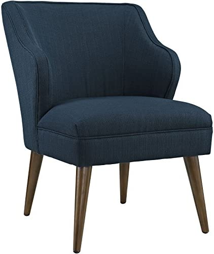 Modway Swell Mid-Century Modern Upholstered Fabric Accent Lounge Arm Chair In Azure