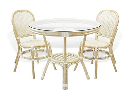 3 Pc Timor Rattan Wicker Dining Set Round Table w/Glass+2 Side Chairs. White Wash - Table Round Chairs W/2