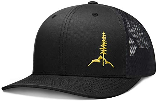 Larix Gear - Adventure Series - Snapback Trucker Hats for Men and Women - Mesh Hat (Black)