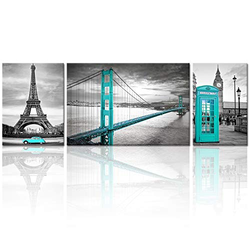 Visual Art Decor Black White and Turquoise Architecture Wall Decor Prints Living Room San Francisco Golden Gate Bridge Eiffel Tower London Booth Big Ben Picture Framed Canvas Decoration Home Office