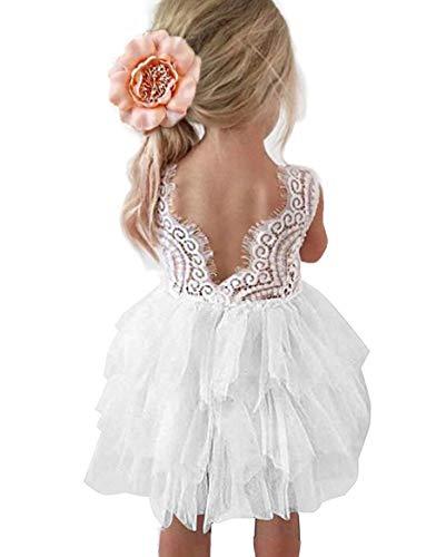 Topmaker Backless A-line Lace Back Flower Girl Dress (1T, White) -