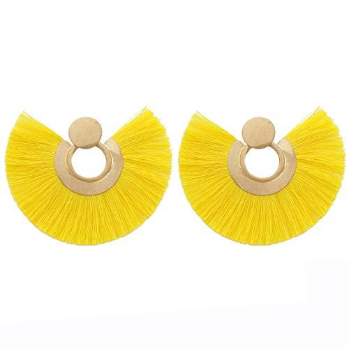 MOOCHI Yellow Tassel Vintage Statement Fringe Ear Drop Dangle Bohemian Stud Earrings