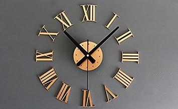 helizoe moderno 3d DIY sin Marco Digital reloj de pared números romanos grandes relojes de diámetro decorativo para salón oficina: Amazon.es: Electrónica