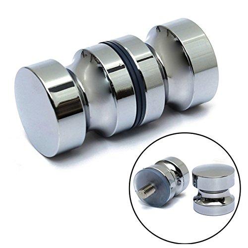Pukido Aluminum Metal Dia. 30mm Single Groove Glass Door Knob Shower Room Cabinet Handle