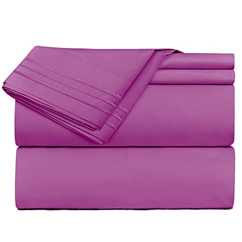 Nestl Cal King Size Sheets - 4 Piece Purple Bed Sheet Set Hotel Luxury Bed Sheets Extra Soft Microfiber Sheets Easy Fit 16