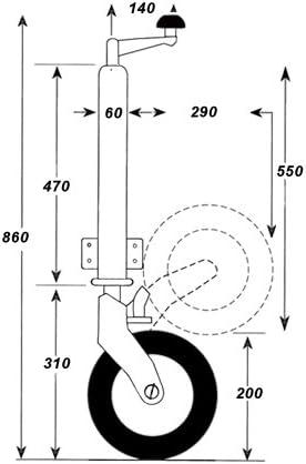 Anhängerstützrad Bugrad Stützrad Ø 60 Mm Stützlast 300 Kg Mit Verstärktem Innenlager Baumarkt