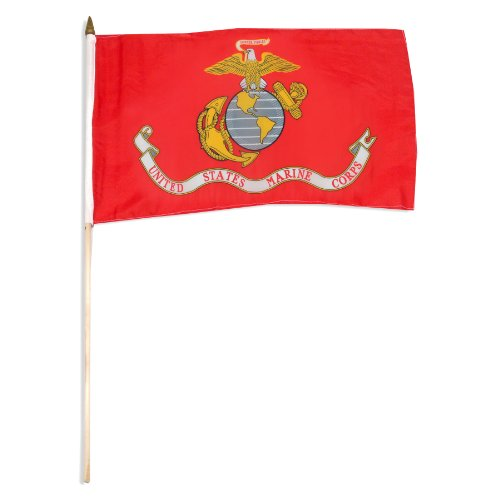 (US Flag Store Marine Corps Flag 12 by 18-Inch Mounted on 24-Inch Wooden Stick)