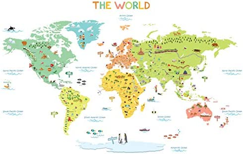DECOWALL Colourful World Map Kids Wall Stickers Wall Decals ... on