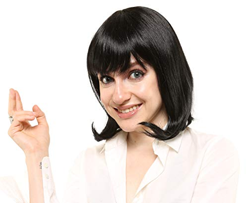 LuxeWigs Mia Wallace Pulp Fiction Character Deluxe Halloween Costume Wig Black]()