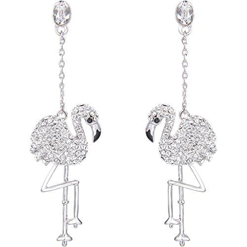 EVER FAITH Austrian Crystal Art Deco Lovely Flamingo Bird Pierced Dangle Earrings Clear Silver-Tone