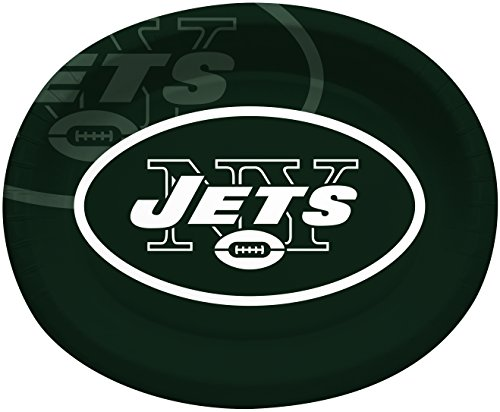 Creative Converting Officially Licensed NFL Oval Paper Platters, 8-Count, New York Jets