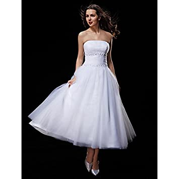 kekafu Vestido sin tirantes de tul vestido de novia de longitud de té con cordón vestidas