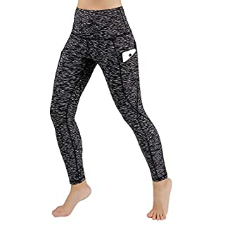 ODODOS Women's High Waist Yoga Pants with Pockets,Tummy Control,Workout Pants Running 4 Way Stretch Yoga Leggings with Pockets,SpaceDyeMattBlack,Large