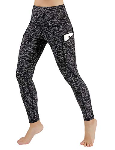 ODODOS High Waist Out Pocket Yoga Pants Tummy Control Workout Running 4 Way Stretch Yoga Leggings,SpaceDyeMattBlack,Large