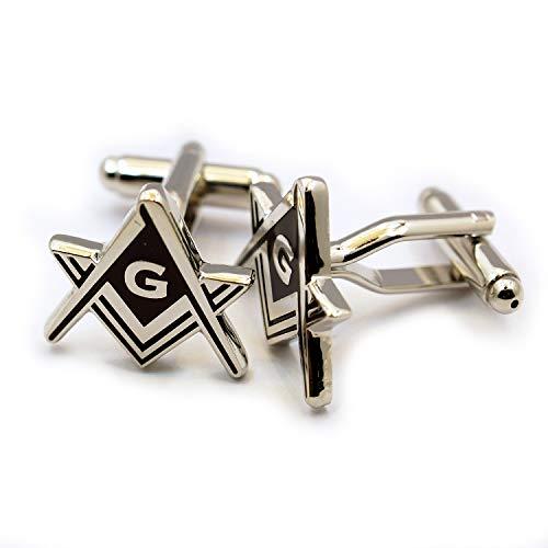 Masonic Square & Compass Silver & Black Cufflink Set - 3/4'' Wide