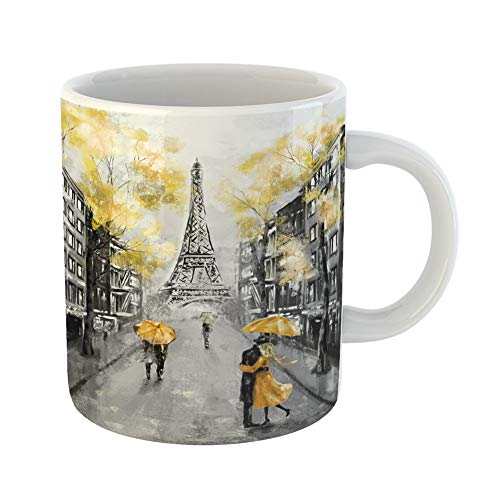 Emvency Coffee Tea Mug Gift 11 Ounces Funny Ceramic Oil Painting Paris European City Landscape France Eiffel Tower Black White Gifts For Family Friends Coworkers Boss Mug ()