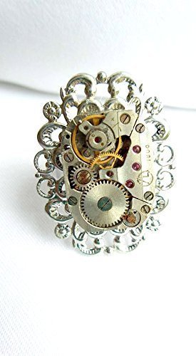 Vintage Style Jewelry, Retro Jewelry Steampunk Ring Silver Plate Oval Filigree  $18.00 AT vintagedancer.com