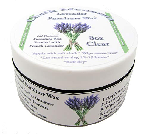 8oz All Natural French Lavender Scented Aromatherapy Clear Furniture Finishing Wax - Safe to use Indoors - Made in USA - No Harsh Chemicals or Distillates by Chalk Mountain Brushes
