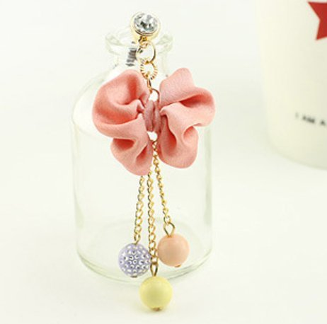 Pretty Cute Hanging Beads & Pink Bow Girly Pendant Tassel 3.5 mm Cell Phone Charm Anti Dust Plug Earphone Cap Headphone Jack Accessory for iphone 6 Plus,iPhone 6,ipods,ipads,Samsung Galaxy series (Girly Cell Phone Accessories compare prices)