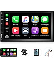 EKAT Double Din Car Stereo Support CarPlay,Car Radio with Mirror Link for Android iOS Phone, in-Dash 7 Inch Car Audio Receiver System with Bluetooth FM Handsfree USB/AUX-in/RCA,Backup Camera