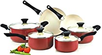 Non-Stick Ceramic Coating Cooking Set Red Color for Modern Cooking (1 Set of 10 Pieces)