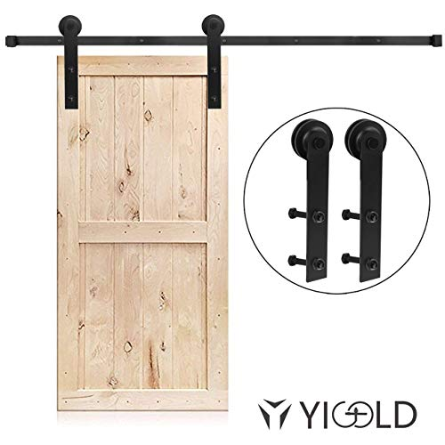 6.6ft Sliding Door Roller Barn Door Track Kit Straight Design Powder Coated Black Easy to Install Includes Step-by-Step Installation-Ultra Sturdy-Apply for Storage Window TV Stand Cabinet Closet