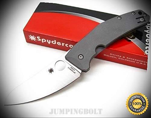 - Grey Titanium Spydiechef Straight Folding Pocket Knife C211Tip - Premium Quality Very Sharp EMT EDC