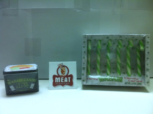 MEAT MANIAC Novelty Wasabi Combo Gift Pack with Sticker- Wasabi Candy Canes & Wasabi Candy (Canes Candy Stickers)