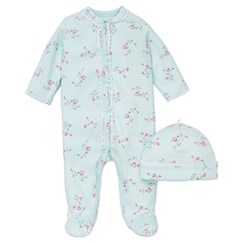 (Little Me Baby-Girls Newborn Floral Spray Footie and Hat, Mint Print, 9 Months)