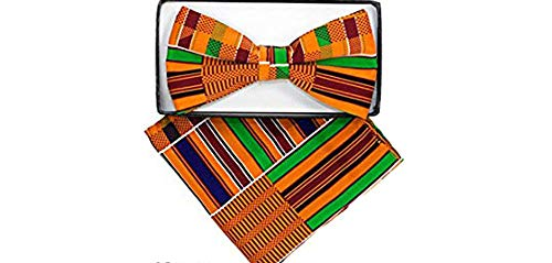 Men's Microfiber Kente African Print Pre-tied Bow Tie & Pocket Square Hankie Gift Set