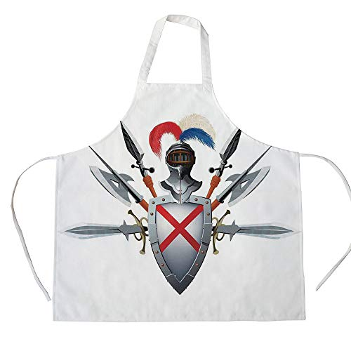 (Medieval Decor 3D Printed Cotton Linen Apron,Knights Mascot with Shield Helmet and Bristling with Weapons Historical War Times Art,for Cooking Baking Gardening,Grey Red)