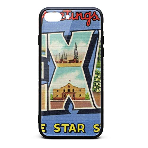 (Phone Case for iPhone 8 Plus/iPhone 7 Plus Vintage Texas Postcard Tempered Glass Black Anti-Scratch TPU Rubber Bumper Shock Skin for Men's Back Cover)