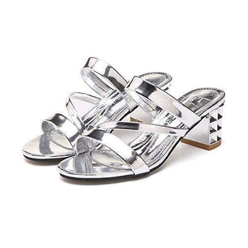 ZYUSHIZ L'été en plein air sandales pantoufles Mme Version coréenne de loisirs ,40EU,l'argent