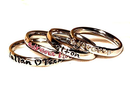 Name Rings - Two Stackable Silver Name Ring Customized - 316 Steel Personalized